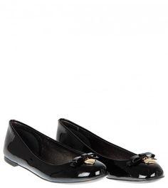 Dolce & Gabbana Black Patent Leather Ballerina Shoes from www.profilefashion.com
