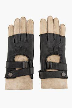 BALMAIN Black shearling & leather TWO-TONE GLOVES