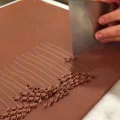 Use the tip of a knife for tiny chocolate curls. Chocolate Curls, Chocolate Art, Chocolate Factory, Chocolate Recipes, Chocolate Garnishes, Food Garnishes, Garnishing, Decoration Patisserie, Dessert Decoration