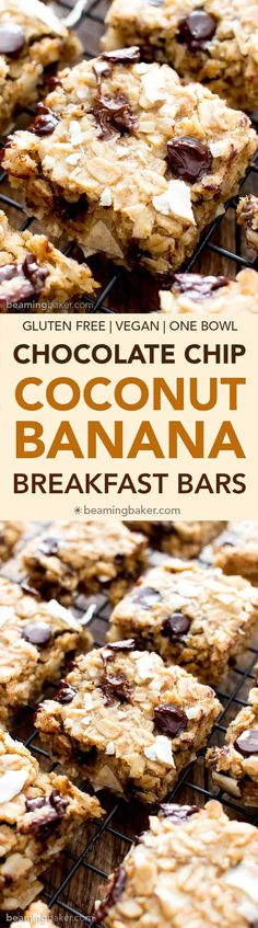 1med banana, mash; ¼c NSA creamy PB; 1T maple; 1T melted coconut oil; 1 flax egg (1T flax + 3T water, set for 15 min); ½t vanilla 1½c rolled oats; ¼t: baking powder & soda; ½c unsweetened coconut flakes; ⅓c chocolate chips -heat oven 350°. Line 8x8 with parchment; set aside. Mix banana ->vanilla until smooth. Mix oats ->baking soda; mix into banana. Fold in coconut & chocolate chips. Pour into 8x8; smooth. Bake 16-22 min, until lightly golden around edges. Cool 1°. 16 bars
