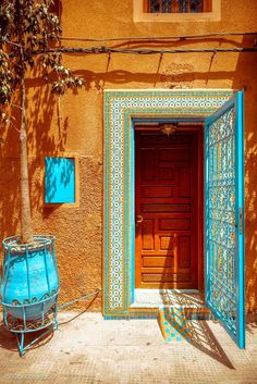 moroccan color palette: Morocco The Combination Of Colors Is Perfect Favorite Places Moroccan Style Color Palette Paint De Old Doors, Windows And Doors, When One Door Closes, Boho Home, Unique Doors, Photos Voyages, Moroccan Style, Moroccan Colors, Moroccan Decor