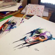 Inspirado nos trabalhos do mestre @cassiomagne alguns estudo de crânios #skull #caveira #watercolor #aquarela #aquarelatattoo #watercolortattoo #art #arte #lcjunior