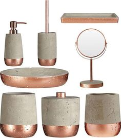 Concrete & Copper distressed bathroom accessories. Choose from 8 different bathroom accessories including a copper vanity mirror, soap dispenser, toilet brush, toothbrush holder, tumbler, cotton jar, bathroom tray and an oval soap dish. Contemporary looking bathroom accessories