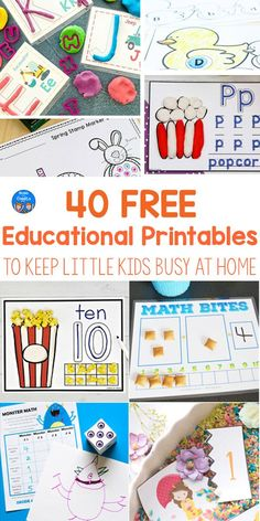 Free Printables for Kindergarten & Preschool These free worksheets and printables each have a hands-on element that holds kids' attention- and only use materials likely found at home. Educational Activities For Preschoolers, Preschool Education, Preschool Curriculum, Learning Activities, Preschool Activities, Preschool Printables, Free Printables, Preschool Schedule, Montessori Homeschool