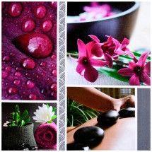 Tableau Toile Cadre Déco Zen Spa Massage Bien Etre Douceur Galet Noir Rose
