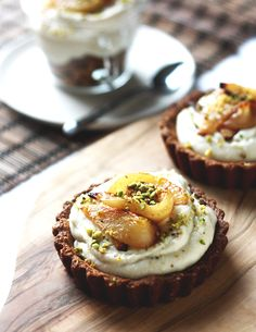 Roasted Pear Tartlets from Amy Chaplin's At Home in the Whole Food Kitchen. Vegan, gluten free, and filled with the creamiest pear-based filling // From the Land we Live on