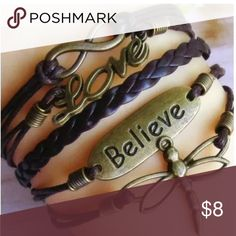 BELIEVE DRAGONFLY BANGLE CUFF Gold charms and believe charm with dragonfly. POPULAR! Jewelry Bracelets