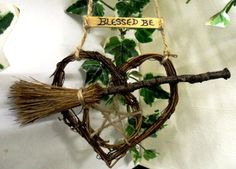 Handfasting Gift. Rustic Pentacle & Besom Heart. Pagan Wiccan Home Blessing.