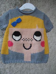 Pull enfant de 2 ans à 6 ans motif fille 100% fait main