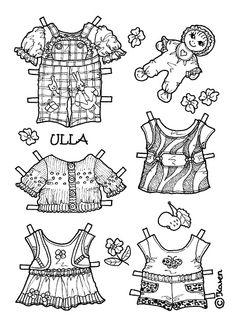 Ulla Paper Doll in Big Size to Colour. Ulla påklædningsdukke i stor størrelse…
