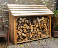 Log store Firewood Shed, Firewood Storage, Log Store, Bike Store, Cool Sheds, Bamboo Garden, Lean To, Outdoor Sheds, Log Homes