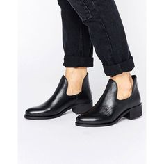 Park Lane Low Rise Boot (1,630 MXN) ❤ liked on Polyvore featuring shoes, boots, ankle booties, black, round toe booties, black leather ankle booties, black slip on boots, slip on boots and leather ankle booties