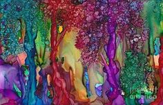 Alcohol Ink Painting - Jeweled Forest by Constance Aring