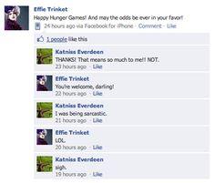 Hunger games Facebook updates