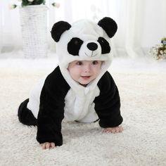 Baby Crawling in Panda Suit