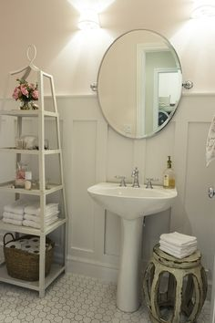 francis residence | alice lane home collection | powder bath, pedestal sink, shelf, garden stool, wainscoting, white