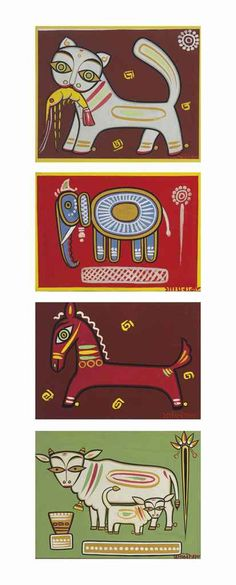 Jamini Roy (1887-1972) Untitled (Cat with Shrimp, Elephant, Horse, Cow and Calf)