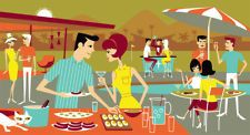 Josh Agle Daiquiris & Deviled Eggs print serigraph SHAG ART Modern Midcentury-- the colors in this one are perfect