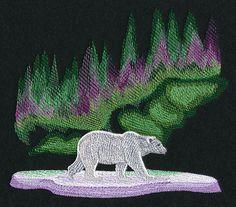 Northern Lights Polar Bear design (M10728) from www.Emblibrary.com