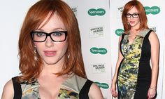 No competition there! Christina Hendricks shows off bombshell figure in tight dress and sexy glasses as she launches search for Most Stylish Spec Wearer