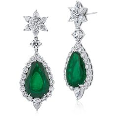Blue Nile Emerald and Diamond Drop Earrings (3,568,100 MXN) ❤ liked on Polyvore featuring jewelry, earrings, holiday jewelry, emerald diamond earrings, diamond earrings, diamond jewelry and blue nile earrings