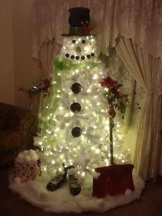 white christmas tree snowman 2013 - White Christmas Tree Snowman