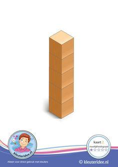 Er komen 50 kaarten! : Bouwkaart 2, moeilijkheidsgraad 1 voor kleuters, kleuteridee, Preschool card building blocks with toddlers 2, difficulty 1