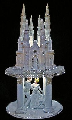 LIGHTED CINDERELLA PRINCE CASTLE WEDDING CAKE TOPPER