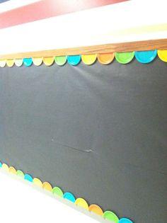 Divertida y económica decoración para la pizarra de la clase