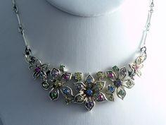Vintage Jewelcraft Rhinestone Flower Necklace