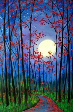 New Beautiful Art Drawings Feelings Canvases Ideas Wine And Canvas, Acrylic Art, Acrylic Paintings, Pictures To Paint, Tree Art, Painting & Drawing, Moon Painting, Peace Painting, Sunrise Painting