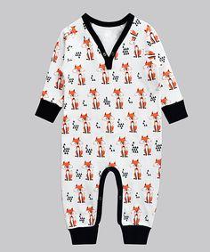 Love this White & Orange Fox Playsuit - Infant by A.T.U.N. on #zulily! #zulilyfinds