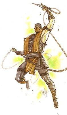 Mortal Kombat-Scorpion ~by Mortal Kombat Video Game, Mortal Kombat Xl, Scorpion Mortal Kombat, Game Character, Character Design, Claude Van Damme, Samurai, Mortal Combat, Mileena