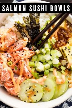 These Salmon Sushi Bowls have all the delicious flavors of your favorite salmon roll in a delicious bowl! Topped with a spicy sriracha mayo and ginger soy dressing, it's a flavor explosion!