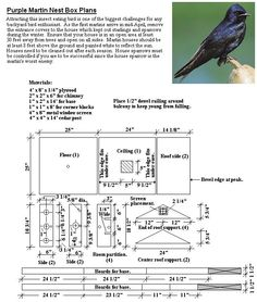 House plans Purple martin house plans and House martin on Pinterest