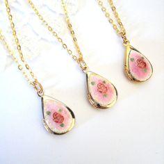 Pink Teardrop Locket Dainty Rose Locket Guilloche Necklace