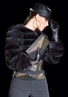 Dyed Chinchilla Fur and Jeweled Jacket