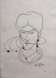 JEAN COCTEAU - original pen & ink drawing - c1950s (Important 20th Century French artist. Picasso, Matisse, Dali interest) par TempusArts sur Etsy https://www.etsy.com/fr/listing/526586908/jean-cocteau-original-pen-ink-drawing