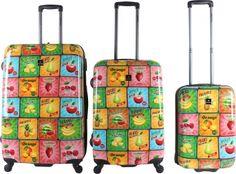 tutti frutti im vintage-Look! dieses Kofferset zaubert gute Laune herbei und ist auf dem Gepäckband direkt wieder zu erkennen. Saxoline Fruits 4-Rad Trolley-Set 3-tlg 09 fruits