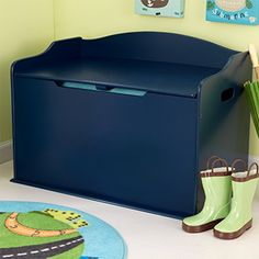 Modern Touch Personalized Toy Box - Blueberry with Baby Blue Marker Font, CUSTOM NAME***