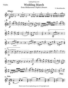 Wedding March from Midsummer Night's Dream by Mendelssohn. Free sheet music for violin. Visit toplayalong.com and get access to hundreds of scores for violin with backing tracks to playalong.