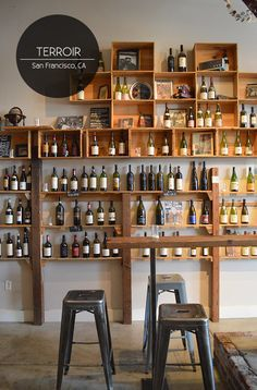Gorgeous Shabby-Industrial Chic Wine Bar in San Fran with Wooden Wine Crate Shelving