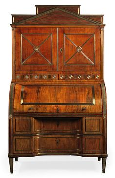 A NORTH EUROPEAN BRASS-MOUNTED MAHOGANY SECRETAIRE-BUREAU 19TH CENTURY AND LATER, PROBABLY RUSSIAN