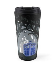 Space And Time Traveller Box Lost In The Woods Travel Mugs #mugs #travelmugs #tardis #doctorwho #publiccallbox #inthejungle #scary #dark #phone #booth #lostinthewood