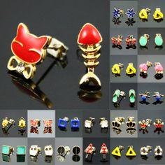 New Fashion Style Cute Pattern Gold Plate Pierced Stud Earrings