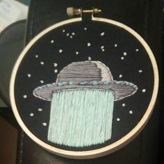 """...Moo?"" #embroidery #handembroidery #ufo #alien"