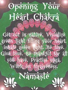 Use springs new sun. Get out into the country side or park to open the heart chakra. :-) {pinterest~coolting}