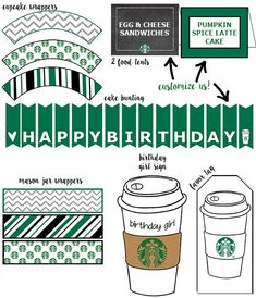 Free Starbucks Birthday Printable Party Pack - Mom Envy Free Starbucks Party Printables perfect for birthdays, baby showers, and engagement parties. These packs have everything you need for a Starbucks fanatic. Birthday Cake With Photo, Birthday Cakes For Teens, Birthday Gift For Him, 14th Birthday, Girl Birthday, Girlfriend Birthday, Birthday Bash, Birthday Quotes, Birthday Wishes