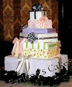 Stacked package cake with 6 packages