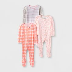 cfb628920 Baby Girls' Print Zip Sleep 'N Play - Cloud Island™ White/Pink Newborn :  Target